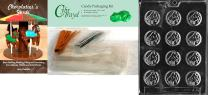 """Cybrtrayd """"Piano Mint"""" Jobs Chocolate Candy Mold with Chocolatier's Bundle, Includes 50 Cello Bags, 25 Gold and 25 Silver Twist Ties and Chocolatier's Guide"""