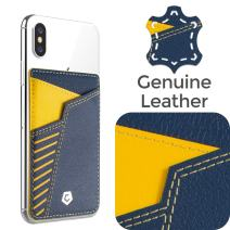 Cobble Pro Self Adhesive Genuine Leather Stick On Credit Card Phone Holder Wallet Case, Sports Teams Fans Lover Sleeve Pocket Compatible with iPhone 11 Pro Max XS X XR Galaxy S20 S10 Orange Light Blue