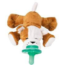 Nookums Paci-Plushies Shakies - Pacifier Holder and Rattle (2 in 1)- Adapts to Name Brand Pacifiers, Suitable for All Ages, Plush Toy Includes Detachable Pacifier (Bull Dog)