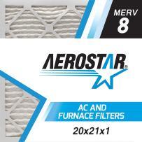 Aerostar 20x21x1 MERV 8, Pleated Air Filter, 20x21x1, Box of 6, Made in The USA