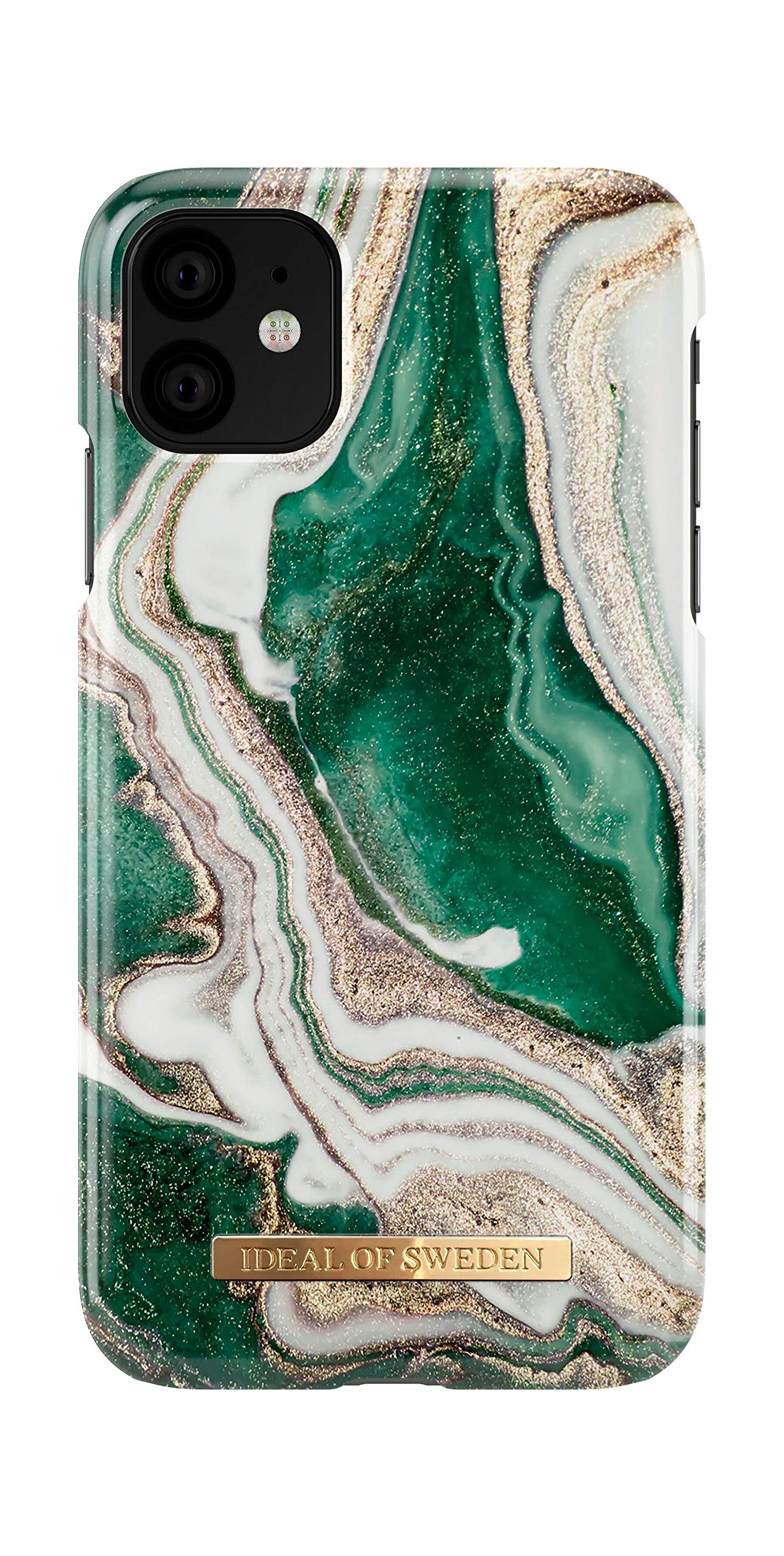 iDeal Of Sweden Mobile Phone Case for iPhone 11 (Microfiber Lining, Qi Wireless Charger Compatible) (Golden Jade Marble)