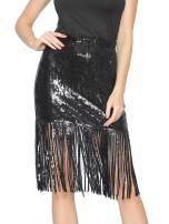 Metme Women's Sequin Skirt Sparkly Midi Skirts Pencil for Work Party Shimmer Cocktail Clubwear with Sequin Tassel