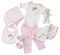 Big Oshi 10 Piece Layette Newborn Baby Gift Basket for Girls - Great Baby Shower or Registry Gift Box to Welcome a New Arrival - All Essentials Including: Bodysuit, Blanket, Bib, and Booties, Pink