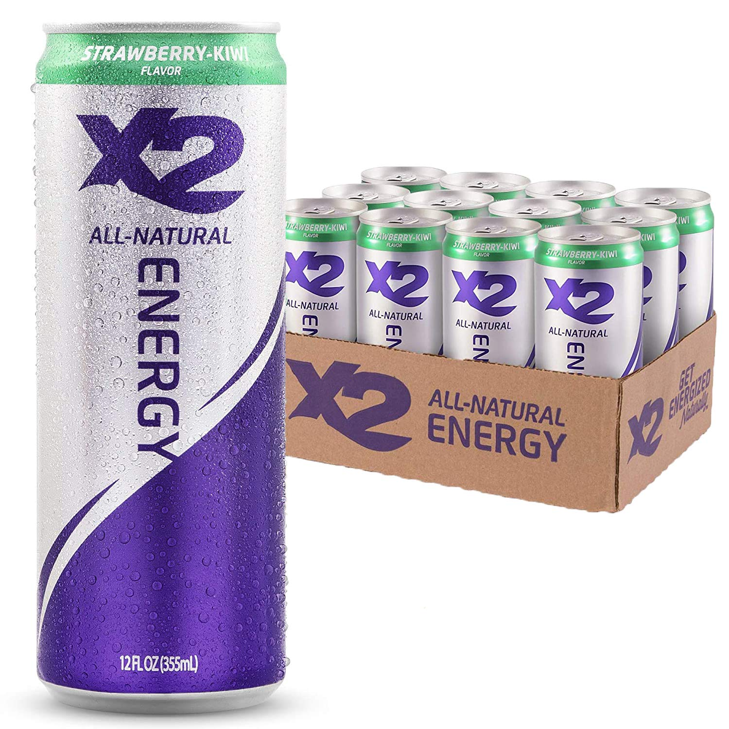 X2 Strawberry Kiwi All Natural Healthy Energy Drink,12 fl.oz. (Pack of 12)