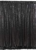 Glitter Photo Backdrop 7ftx7ft Black Sequin Backdrop Curtains Glitter Fabric Stage Drape Backdrops for Weddings Party Halloween Decoration