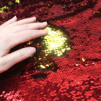 Sequins Sewing Fabric Mermaid Flip Up Sequin Reversible Sparkly Fabric 1 Yard (36'' x 47'') for Dress Clothing Making Home Decor (Red & Gold)