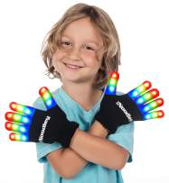 The Noodley LED Gloves for Kids Cool Toys for Boys with Extra Batteries Indoor Play Outdoor Game Ideas Camping Ages 4 5 6 7 (Small, Black)