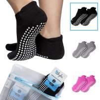 Skyba Non Slip Socks for Women - Grips for Barre, Pilates, Yoga, Hospital, Labor [Mesh Washing Bag]
