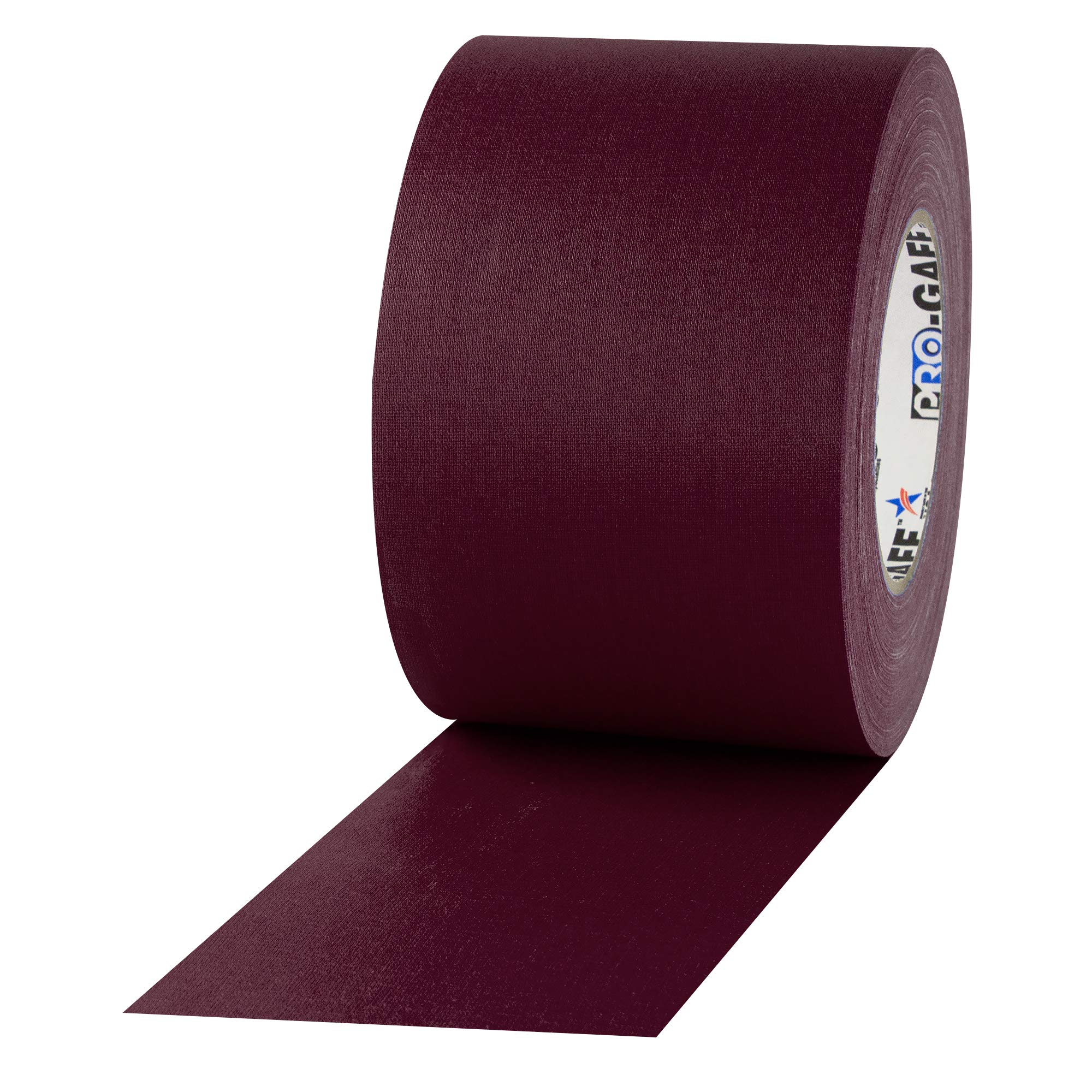 """4"""" Width ProTapes Pro Gaff Premium Matte Cloth Gaffer's Tape With Rubber Adhesive, 11 mils Thick, 55 yds Length, Burgundy (Pack of 1)"""