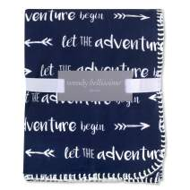 Wendy Bellissimo Super Soft Plush Baby Blanket (30x40) - Adventure in Navy + White