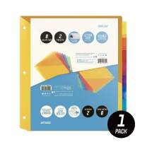 OS Plus 8-Tab Plastic Binder Dividers w/ 2 Pockets, Insertable Big Tabs, 1 Set