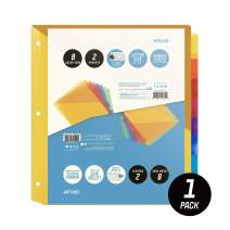 OS Plus 8-Tab Plastic Binder Dividers w/ 2 Pockets, Insertable Big Tabs, 1 Set
