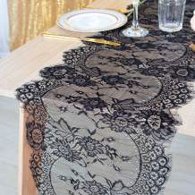 DUOBAO Black Lace Table Runner 13x120-Inch Wedding Lace Table Runners Classic Lace Fabric Fringe Table Runner Black Lace Fabric Table Runner Lace Table Cover Overlay for Party (Classic Black)