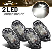 "Partsam 4X Oval White Clear Lens 2 Diode LED Trailer Truck Side Marker Light, Surface Mount 2.5"" Little Boat Marine Led Lights RV Camper Accessories"