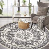 HEBE 6 Ft Large Cotton Round Area Rugs Machine Washable Chic Bohemian Mandala Printed Tassel Cotton Rug Woven Throw Rug Carpet for Bedroom Living Room