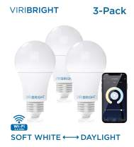 Viribright Smart LED Light Bulb E26, A19 (60W Equivalent) 8W Actual WiFi LED Bulb, 2700K to 5000K Dimmable, No Hub Required, White Light Only, Scheduling Feature, 3 Pack