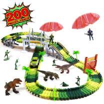 heytech Dinosaur Toys Dinosaurs World Car Vehicle Race Track Create A Road 150 Pieces Toy Car 1 Dinosaur, 1 Iron Cage … (200 Piece)