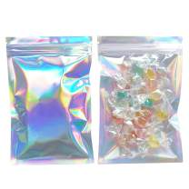 SumDirect 200pcs 4 7/10x7Inch Resealable Smell Proof Bags, Aluminum Foil Bags, Holographic Ziplock Food Pouch with Clear Front