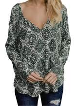 BLENCOT Women's V Neck Floral Long Sleeve Shirts Casual Loose Drawstring Blouses Tops