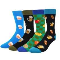 SOCKFUN Funny Novelty Colorful Dress Socks, Golf Donut Beer Striped Socks Gift Box Set For Men