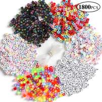 1800 Pieces A-Z Letter Beads, 6 Styles Sorted Alphabet Beads and Colorful Acrylic Letter Bead Kit, Vowel Letter Beads for Jewellery Making&Crafts&Name Bracelets