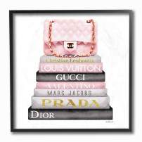 The Stupell Home Décor Collection Watercolor High Fashion Bookstack Padded Pink Bag Framed Giclee Texturized Art, 12 x 12, Multi-Color
