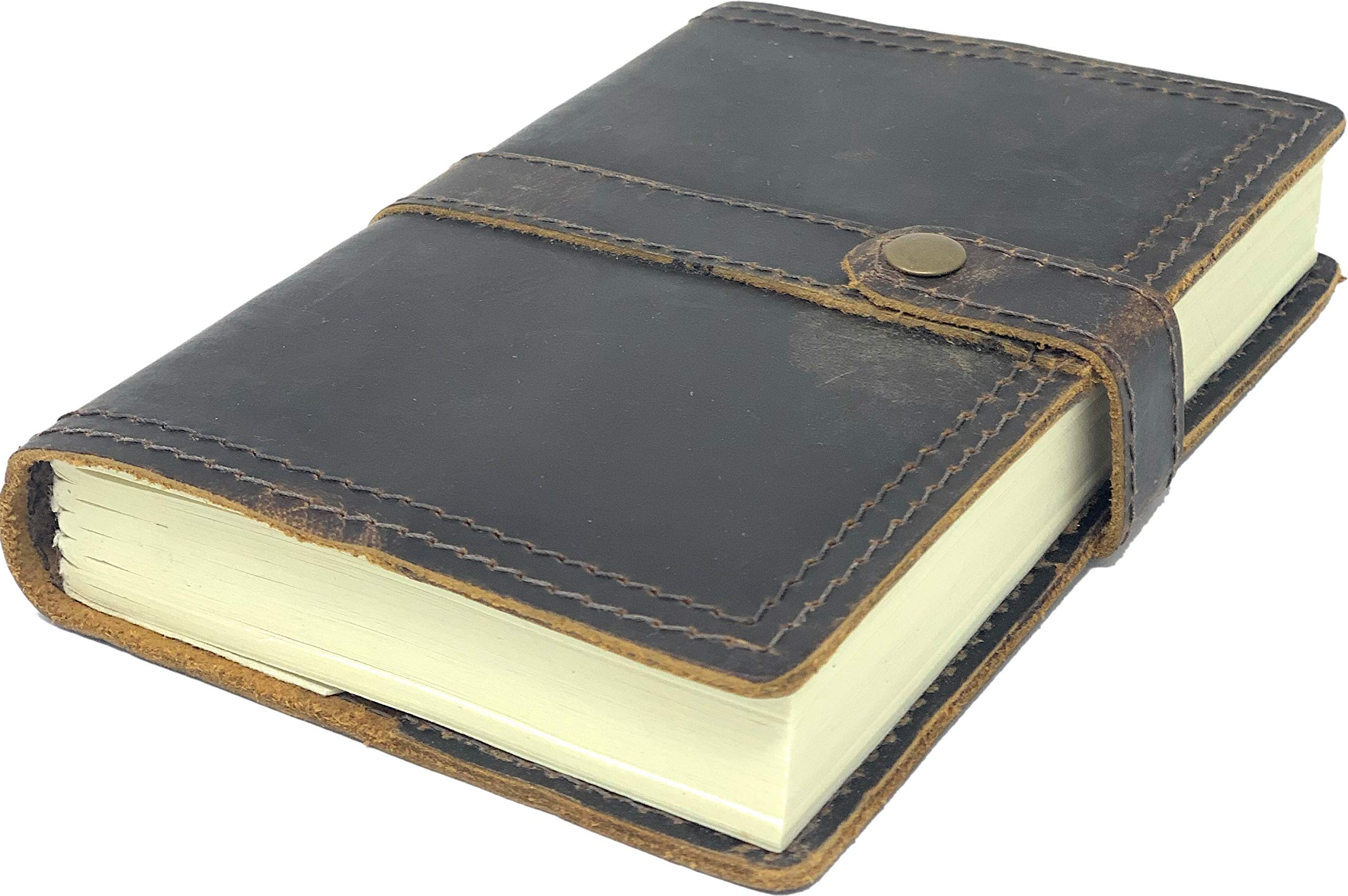 Tuk Tuk Press, Ranger Edition, Handmade Buffalo Leather Journal, Rustic Weathered Design, 200 Tree Free Thick Recycled Blank Cotton Pages, Refillable, (7 Inches x 5 Inches)