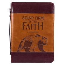 Brown Faux Leather Classic Bible Cover | Stand Firm in Faith 1 Corinthians 16:13 Bear | Bible Case Book Cover for Men/Women, Large