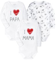 HONGLIN Unisex Baby 3 Pack Long Sleeve BabySuits White Printed PAPA and Mama 9-12 Months
