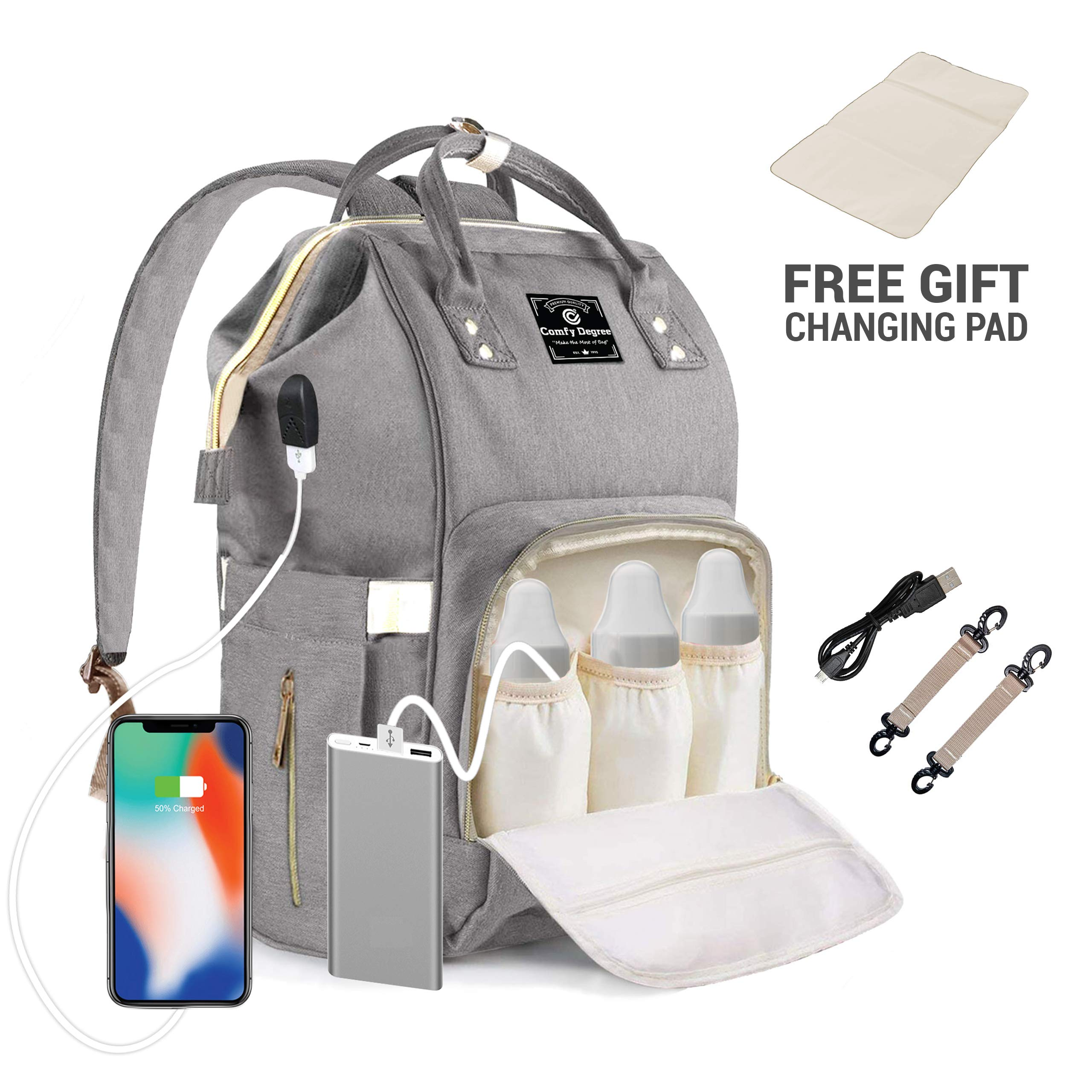 ComfyDegree Nappy Changing Organizer Bag Large Capacity Diaper Baby Travel Backpack with USB Charging Port, 3x Insulated Bottle Warmer Pockets and Waterproof Fabric Features for Mom and Dad (Gray)