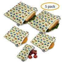 Reusable Sandwich Bags Snack Bags - Set of 5 Pack, Dishwasher Safe Lunch Bags with Zipper, Eco Friendly Food Wraps, BPA-Free. (Cactus)