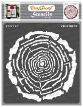 CrafTreat Wood Decor Stencils for Painting on Wood, Canvas, Paper, Fabric, Floor, Wall and Tile - Tree Rings - 6x6 Inches - Reusable DIY Art and Craft Stencils - Pattern Stencils for Wood