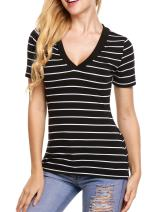 Beyove Surplice Tops V Neck Plunging Slim Fitted Ruched Wrap Tee Shirt,S-XXL (C-Black, Large)