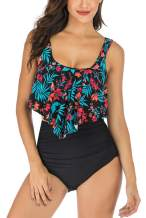 Swimsuit for Women Two Pieces Bathing Suits Top Ruffled with High Waisted Bottom Tankini Set