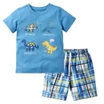 Little Bitty Toddler Boy Clothes Boys Summer Outfits Cotton Short Sleeve T-Shirt & Shorts Set 2-7Yrs