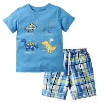 Little Bitty Toddler Boy Clothes Boys Summer Outfits Cotton Short Sleeve T-Shirt & Shorts Set 2-7Yrs