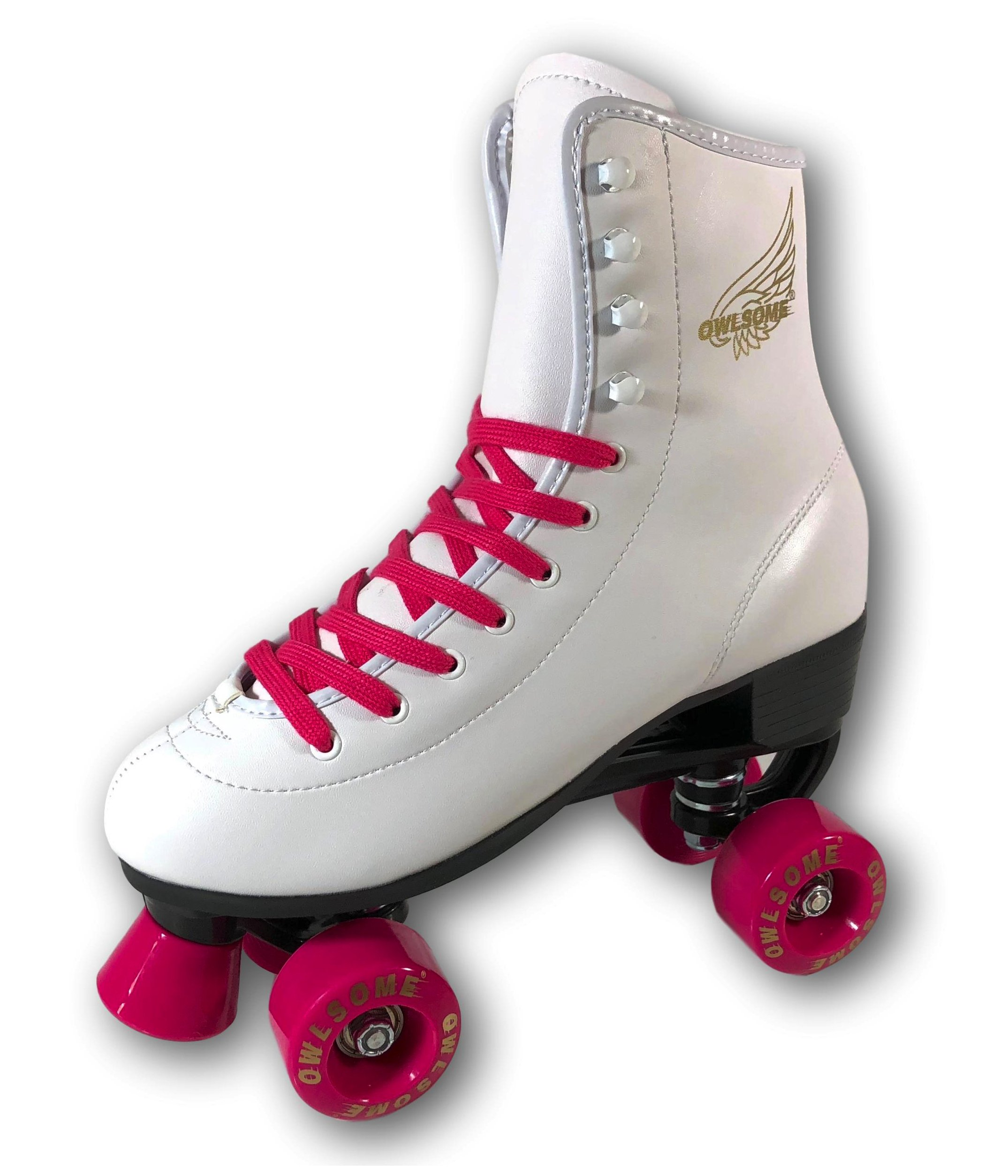 Owlsome Classic High Top Boot Style Soft Faux Leather Roller Skates for Adult & Youth