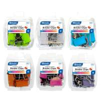 BAZIC Assorted Size Color Metal Binder Clip, Small Medium Large Fold Back Paper Clamps Clips for Office School Supplies, Home Kitchen Storage Tool, 6 Colors (12/Pack) (Set of 6)