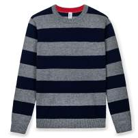 Kid Nation Boys Striped Pullover Sweater Round Neck Long Sleeve Casual Sweatshirt Navy 8-10Y