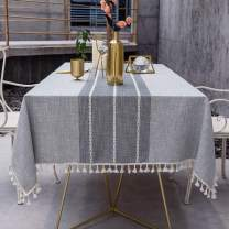 OstepDecor Stitching Tassel Tablecloth, Cotton Linen Table Cloths Rectangle, Table Cover for Kitchen Dinning Room Party, Rectangle/Oblong, 55 x 70 Inch, 4-6 Seats, Gray