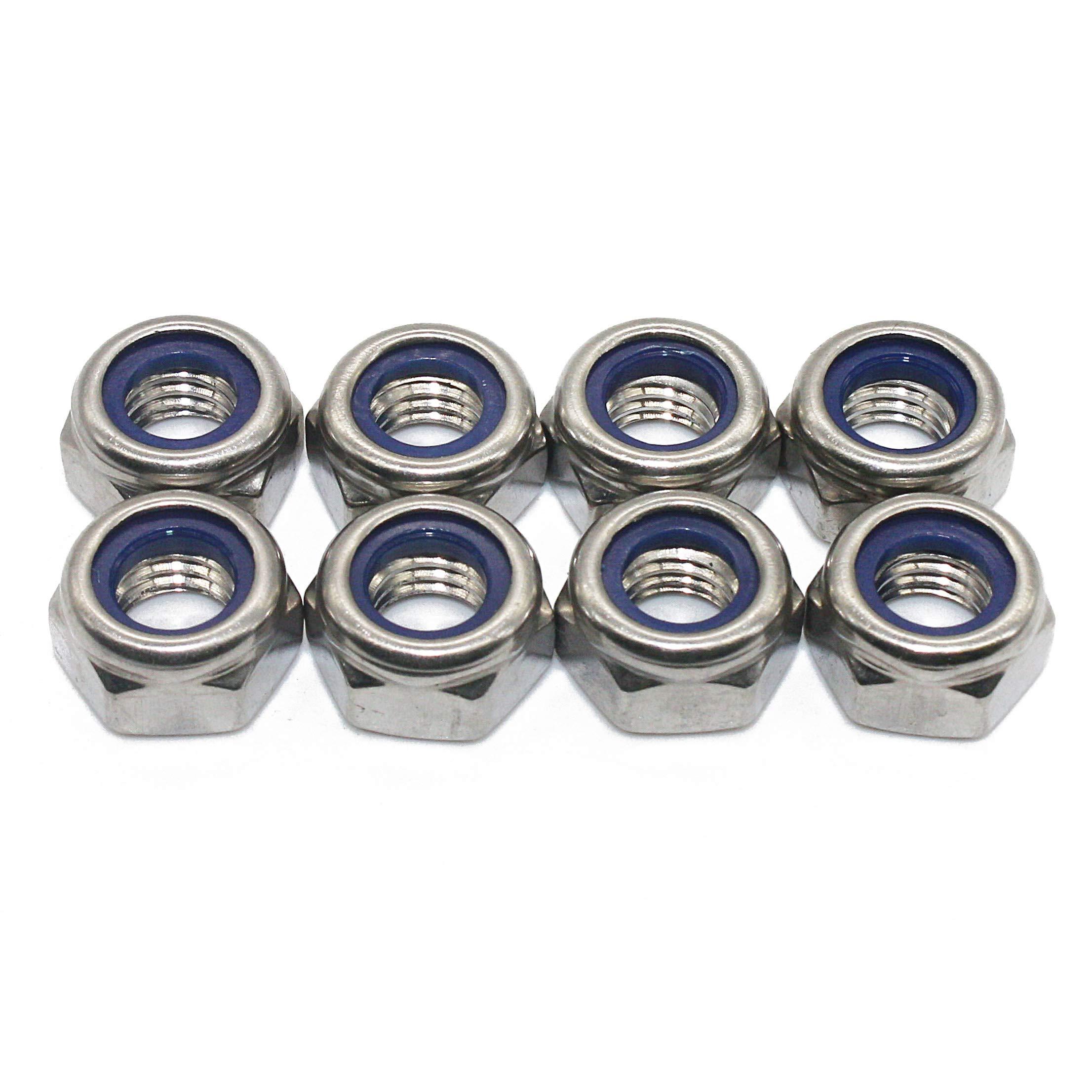 Fullerkreg M5 x 0.8mm DIN985 Self-Locking Nylon Insert Hex Lock Nuts,Stainless Steel A2-70/304/18-8,Plain Finish,Quantity 100PCS