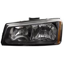 HEADLIGHTSDEPOT Black Housing Halogen Headlight Compatible with Chevrolet Silverado 1500 2500 3500 HD Includes Left Driver Side Headlamp