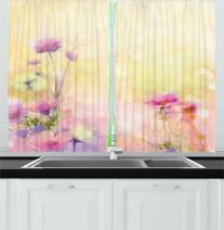 "Ambesonne Flower Kitchen Curtains, Vintage Soft Colored Feminine Magnolia Blooms Whorls Motif Artwork Print, Window Drapes 2 Panel Set for Kitchen Cafe Decor, 55"" X 39"", Yellow Pink"
