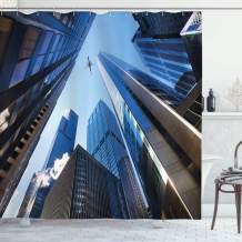 """Ambesonne Urban Shower Curtain, Looking up at Chicago's Skyscrapers in Financial District American City Picture, Cloth Fabric Bathroom Decor Set with Hooks, 84"""" Long Extra, Grey Blue"""