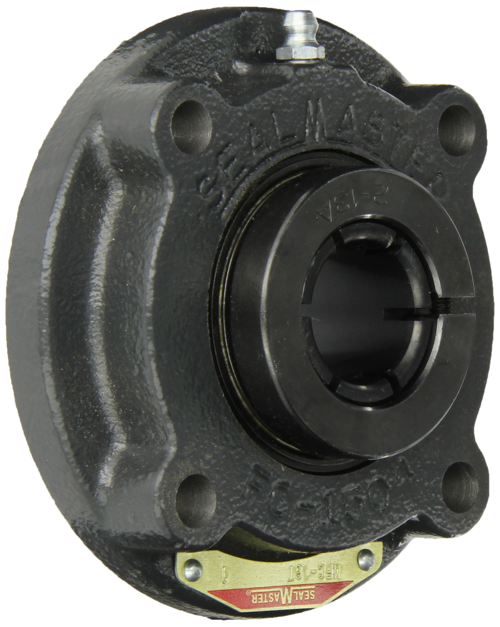 """Sealmaster MFC-16T Medium Duty Piloted Flange Cartridge, 4 Bolt, Regreasable, Felt Seals, Skwezloc Collar, Cast Iron Housing, 1"""" Bore, 4-3/8"""" Overall Length, 2-9/16"""" Bolt Hole Spacing Width, 3/8"""" Flange Height, ±2 Degrees Misalignment Angle"""