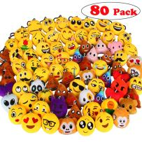 "Dreampark 80 Pack Mini Emoji Keychain Plush, Party Favors for Kids, Christmas / Birthday Party Supplies, Emoticon Gifts Toys Carnival Prizes for Kids 2"" Set of 80"