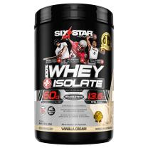 Six Star Whey Isolate Plus Protein Powder, 100% Whey Protein Isolate,Vanilla Cream,1.5 Pounds