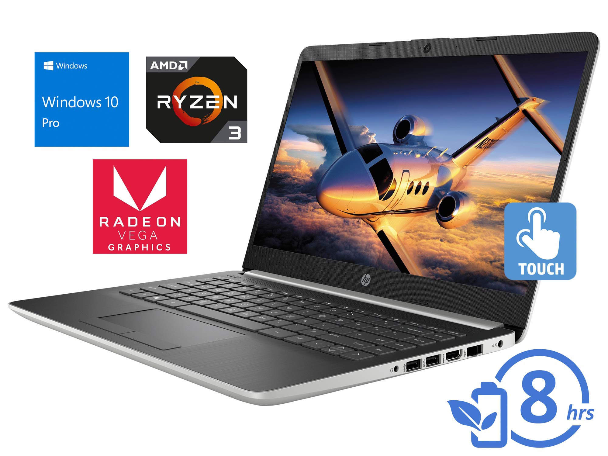 "HP 14 Laptop, 14"" HD Touch Display, AMD Ryzen 3 3200U Upto 3.5GHz, 16GB RAM, 256GB SSD, Vega 3, HDMI, Card Reader, Wi-Fi, Bluetooth, Windows 10 Pro"