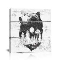 BOLUO Bear Canvas Wall Art Black and White Nursery Living Room Decor Landscape Print Framed Painting Rustic Decorations 12x12 Inch