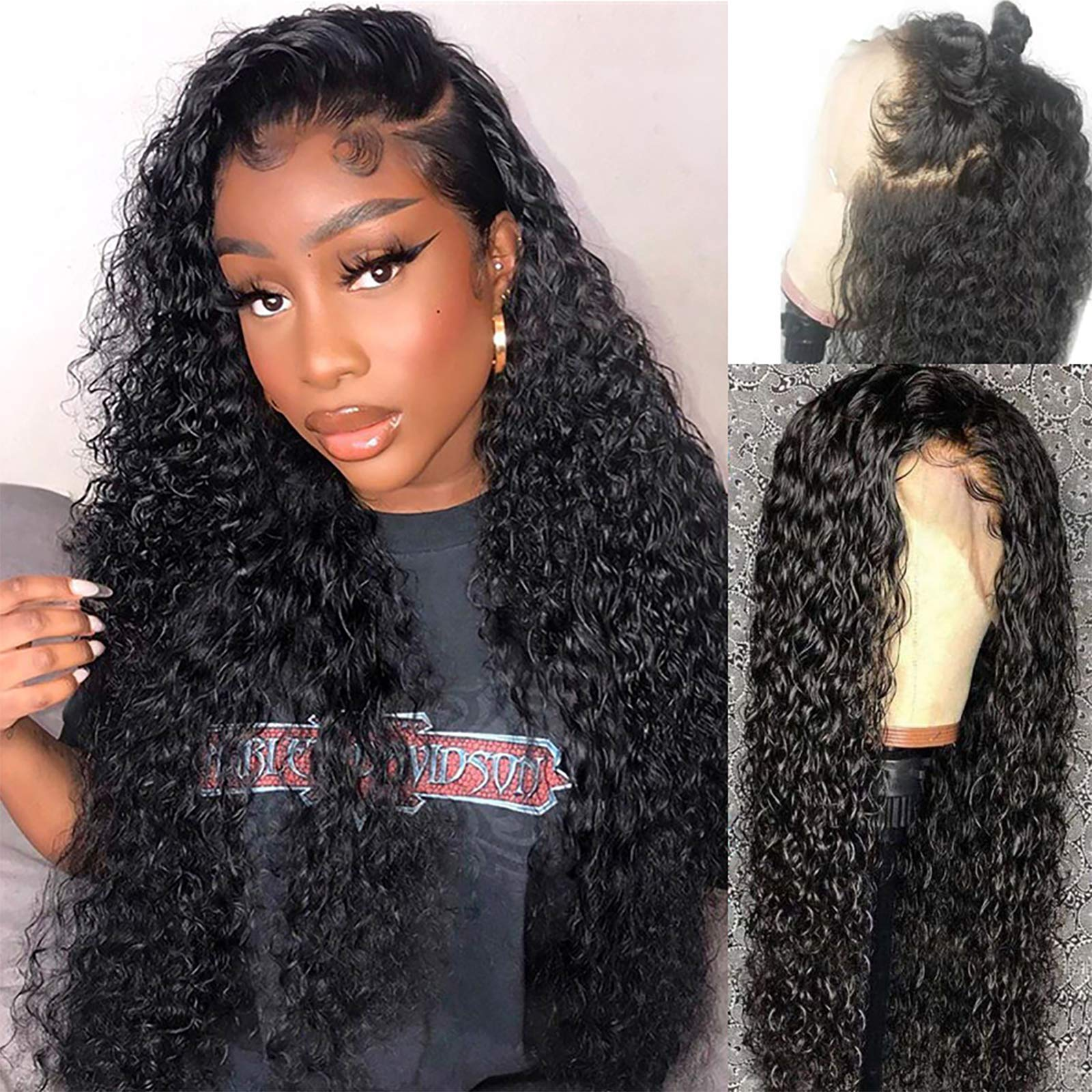 Water Wave Lace Front Wigs Human Hair Original Queen 150% Density Brazilian 4X4 Lace Closure Wigs Human Hair Wigs for Black Women Deep Curly Hair Wigs Natural Color 16Inch
